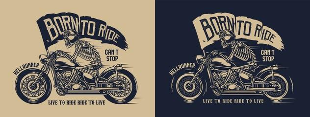 Vintage motorcycle label Papier Peint