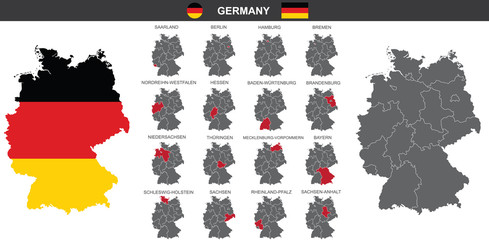 set of vector maps of Germany on white background  Fototapete