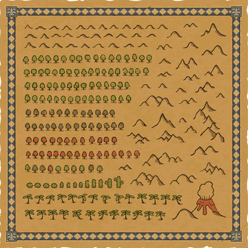 Vector set of hills, mountain, volcano, colorful tree, palm tree and cactus icons for maps. Includes a worn parchment background and an ornate blue medieval frame with floral patterns.