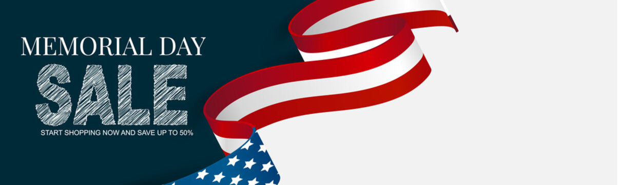 Memorial Day banner, website or newsletter header. Background with American national flag ribbon. United States of America holiday celebration concept. Vector illustration.