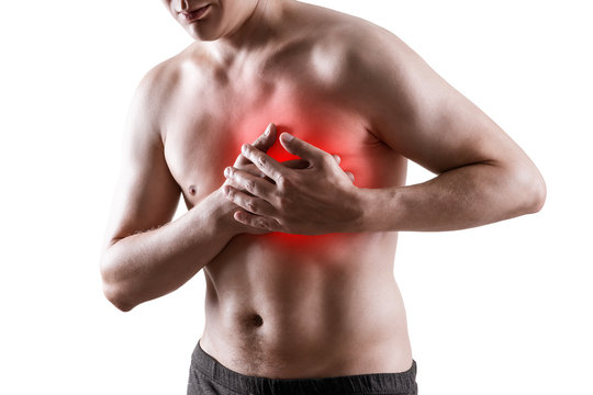 Heart attack, man with chest pain isolated on white background, cardiovascular disease concept