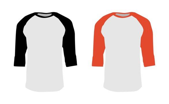 T-shirt Template Raglan 3/4 Sleeve Vector
