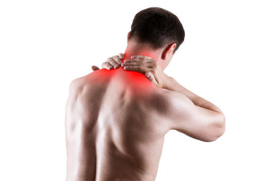 Neck pain, man suffering from backache isolated on white background