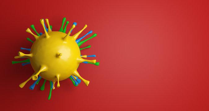 View of Coronavirus under microscope isolated on red background. Corona virus outbreaking. 3D illustration.