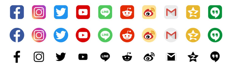 Facebook, Instagram, Twitter, Google applications logo, Youtube, Line, Reddit, Weibo, Qzone - popular social media, messengers, message passing, post, internet services. Kyiv, Ukraine - April 12, 2020