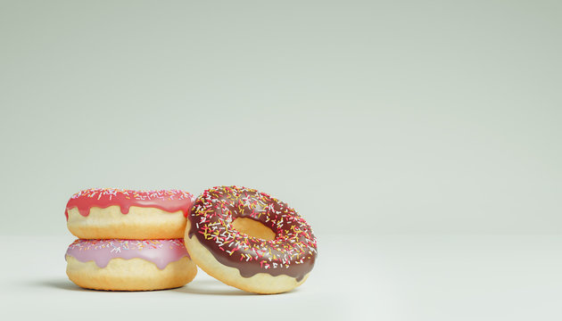 three different and delicious donuts on white isolated background. Texutrue and Template concept. 3D illustration.