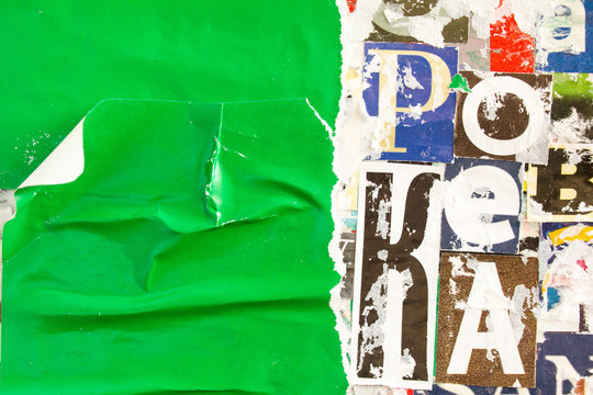 Torn ripped and peeling green paper poster on collage from clippings with letters and numbers texture background.