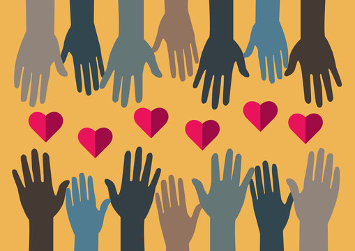 Sharing love. Hands and Hearts. People or volunteers sharing love, hope or solidarity. All united.