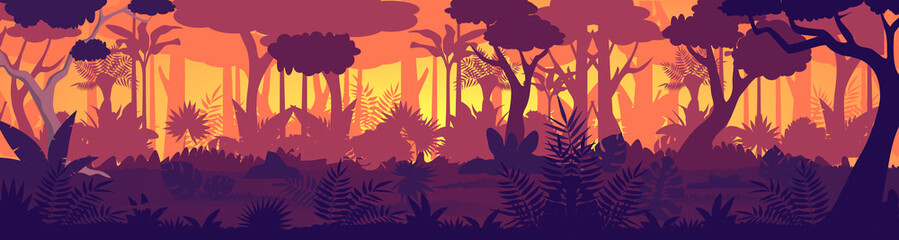 Vector Tropical jungle sunset silhouette panorama background. Golden Sun rays in wild forest, lush vegetation become dark. Trees, lianas, grasses change colors from light to night shadows game design Wall mural