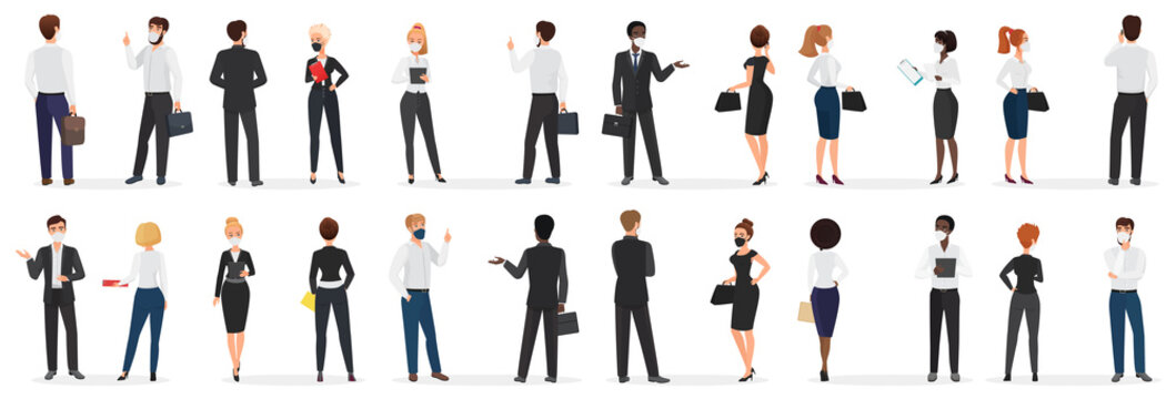 Business people conversation at pandemic cartoon vector illustration set. White and black men and women in mask, in formal suit discuss talking at distance to protect from coronavirus infection
