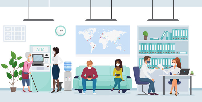 People in medical mask in bank branch flat character virus concept vector illustration. One manager at comp gives papers to boy, another helps old lady with stick near ATM, two clients sitting on sofa