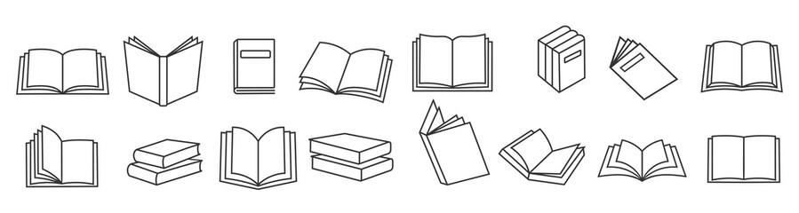 Book icons set in thin line style, isolated on white background, vector illustration.