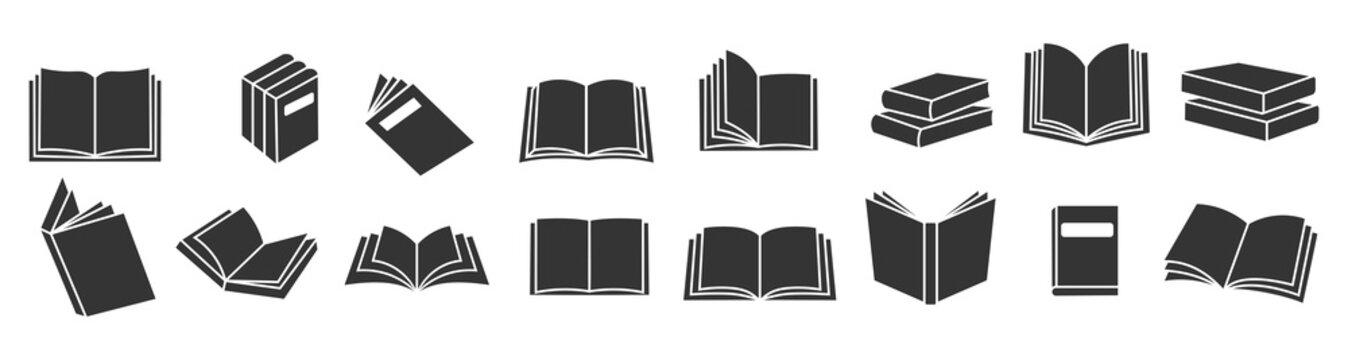 Book icons set, logo isolated on white background, vector illustration.