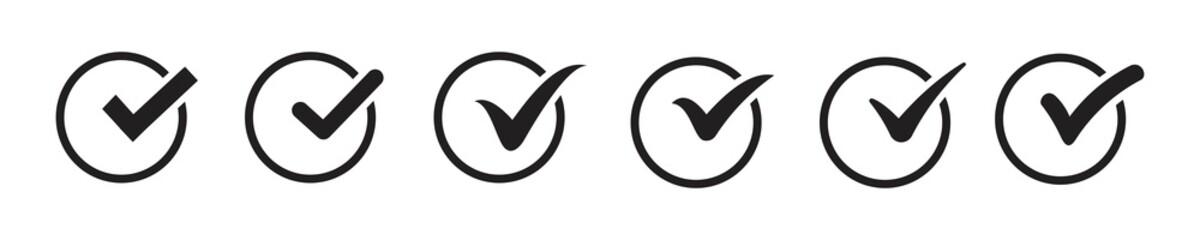 black check mark icon set isolated on white background. Tick approved symbol. Illustration Fototapete