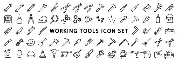 Big Set of Working Tools Icon (Thin Line Version) Wall mural