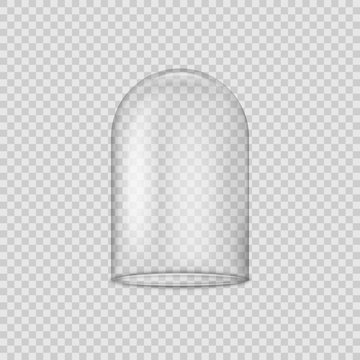 Glass dome isolated on transparent background. Vector illustration.