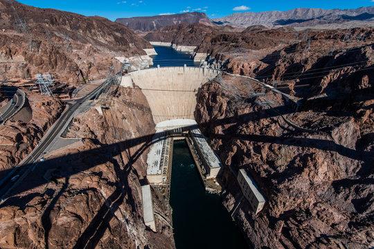 View from the Mike O'Callaghan - Pat Tillman Memorial Bridge of the famous Hoover Dam near Las Vegas, Nevada.