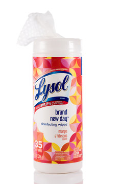 Lysol disinfecting wipes canister isolated against white background