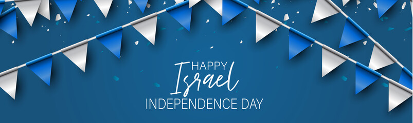 Israel Independence Day banner or site header. National holiday design template. Israeli symbolics background with blue and white flag colors bunting garland and the pentacle. Vector illustration. Fotoväggar