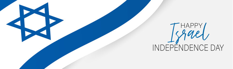 Israel Independence Day banner or site header. National holiday design template. Israeli symbolics background with blue and white waving flag. Vector illustration. Fotoväggar