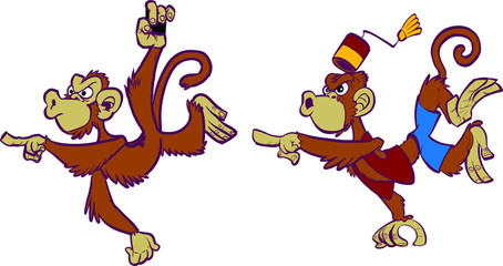 Two Angry Cartoon Monkeys Pointing Mascot Set