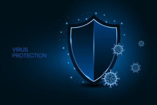 Security shield for virus protection. Coronavirus safety concept on blue background. Shield and virus cells of Covid-19. Vaccine, medicine, antibiotic. Vector.