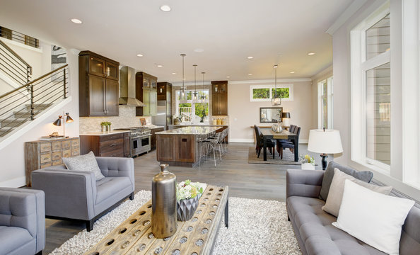 Luxurious new construction with open plan interior. Luxury American modern home.