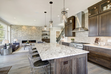 Luxury kitchen in a new construction home. Luxury American modern home.