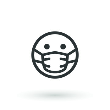 Sick emoticon wearing a medical mask. emoji medical mask fear of viruses, germs, pandemic and disease. Sick emoji with mouth mask