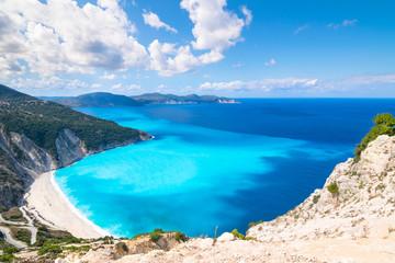 Autocollant pour porte Bleu ciel Beautiful landscape of Myrtos beach - Kefalonia Island - Greece