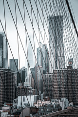 Wall Mural - View of the Manhattan island from the Brooklyn Bridge.