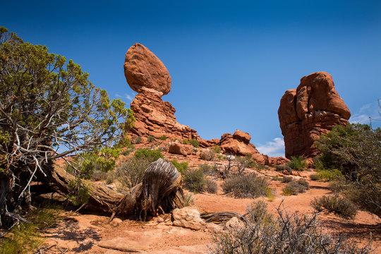 Balanced Rock in Arches National Park near Moab, Utah.