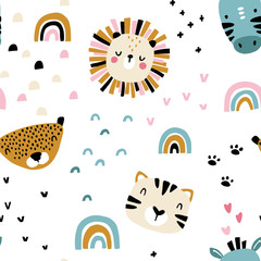 Rainbow africa. Seamless pattern with cute animals faces. Childish print for nursery in a Scandinavian style. For baby clothes, interior, packaging. Vector cartoon illustration in pastel colors.