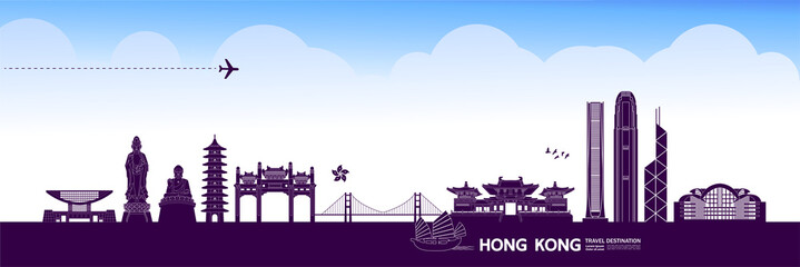 Fotomurales - Hong Kong travel destination grand vector illustration.