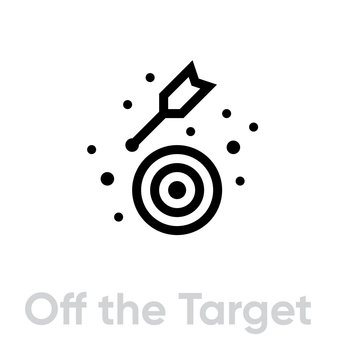Off the Target icon. Editable line vector.