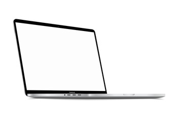Realistic Silver White Notebook with Blank Screen. 16 inch Scalable Laptop computer. Can be Used for Project, Presentation. Blank Device Mock Up. Separate Groups and Layers. Easily Editable EPS Vector Fototapete