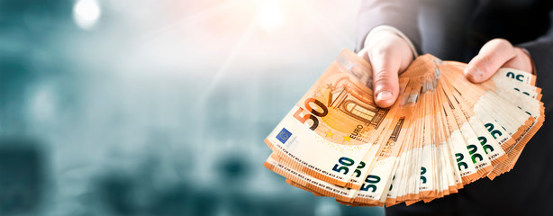 Euro money wide banner. Several hundred of euros banknote copy space