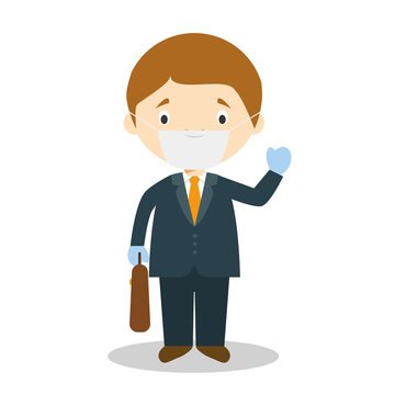 Cute cartoon vector illustration of a businessman with surgical mask and latex gloves as protection against a health emergency
