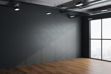 Modern hall interior with empty gray wall