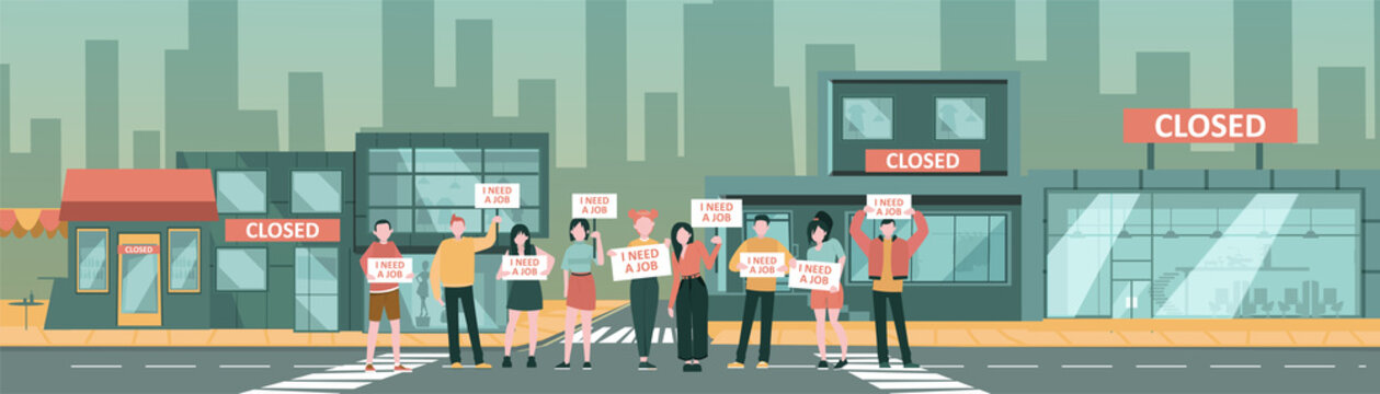 Vector of a unemployed jobless people protesting on a street