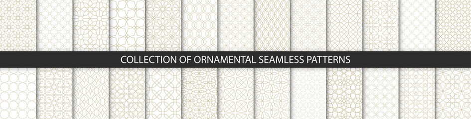 Big set of oriental patterns. White and gold background with Arabic ornaments. Patterns, backgrounds and wallpapers for your design. Textile ornament. Vector illustration. Wall mural