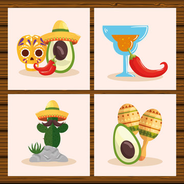 Mexican skull hat avocado chillis cocktail cactus and maracas design, Mexico culture tourism landmark latin and party theme Vector illustration