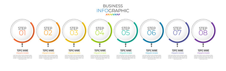 Minimal infographic Timeline template can be used for workflow layout, diagram, number options, web design. Infographic business concept with 8 option, parts, steps or processes. Abstract background. Wall mural