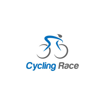 Simple bicycle road bike logo or cycling race vector