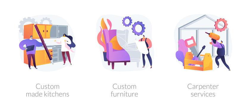 Apartment interior design metaphors. Custom made kitchens, furniture designer, carpenter services. Home furnishing. House renovation. Vector isolated concept metaphor illustrations.