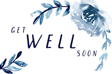 Get well soon card printable.  Hand painted watercolor get-well note.