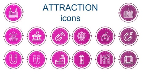 Editable 14 attraction icons for web and mobile Fototapete