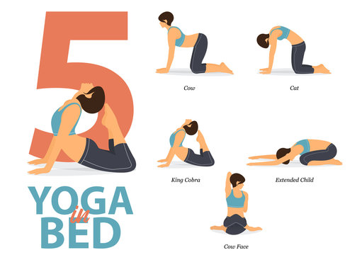 Infographic of 5 Yoga poses for Easy yoga at home  in flat design. Beauty woman is doing exercise for body stretching. Set of yoga in bed  infographic . Yoga Cartoon Vector art and Illustration.