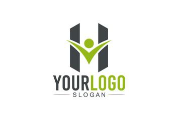 logo letter h human character success logo