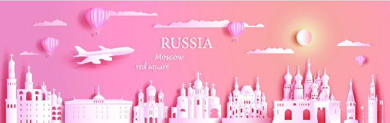 Wall Mural - Travel Russia top world famous symbol ancient architecture. Modern business brochure design on pink color background.Tour moscow landmark of europe with paper origami.Vector illustration for postcard.